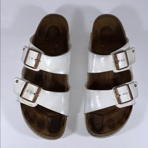Birkenstock White patent Leather Sandals